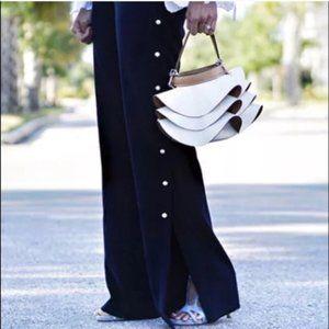 RARE Pearl Pants Trousers Navy Blue Side Split